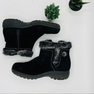 KHOMBU | Black Boots with Faux Fur and Side Zipper